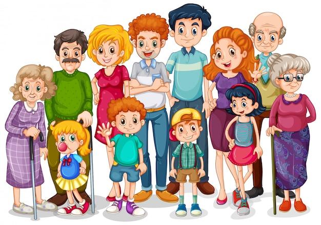 Membres De La Famille Avec Enfants Et Tous Les Proches Vecteur gratuit