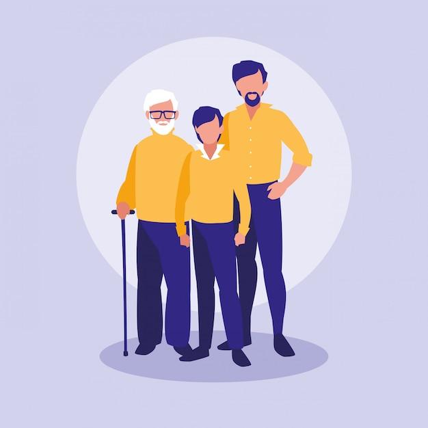 Membres de la famille ensemble des personnages Vecteur Premium