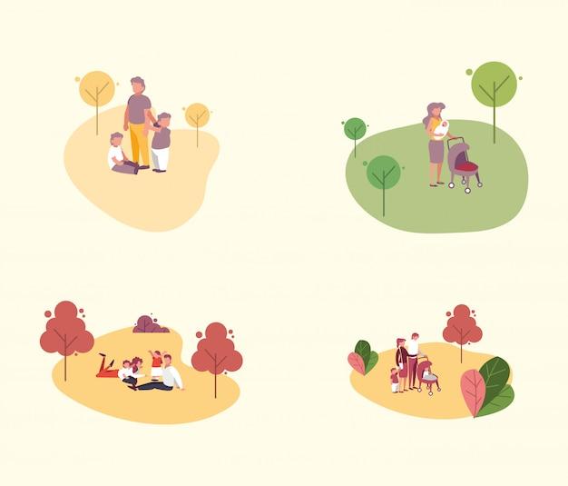 Membres De La Famille à L'extérieur Vecteur Premium