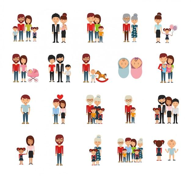 Membres de la famille icon set Vecteur gratuit