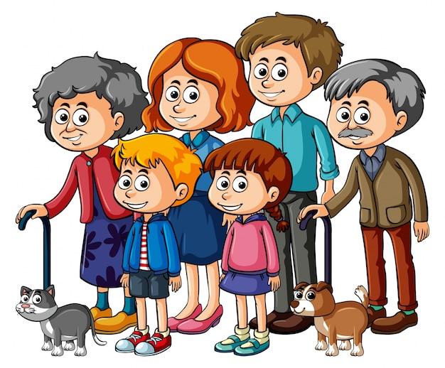 Membres de famille avec parents et enfants Vecteur Premium