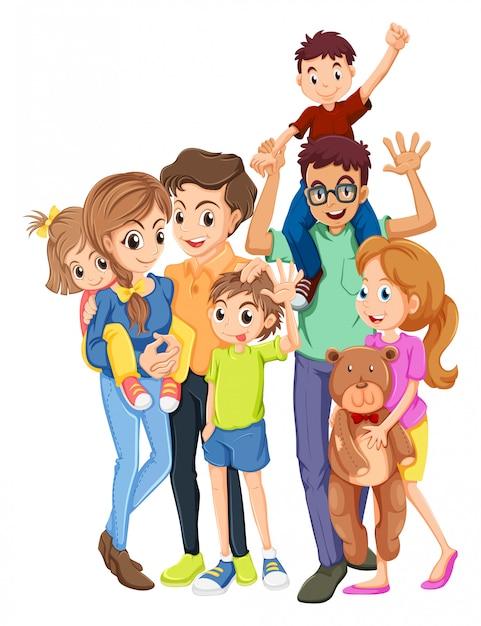 Membres de la famille avec père et mère Vecteur gratuit