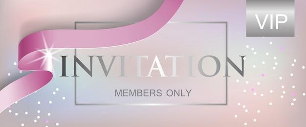 Membres d'invitation vip uniquement lettrage avec ruban Vecteur gratuit