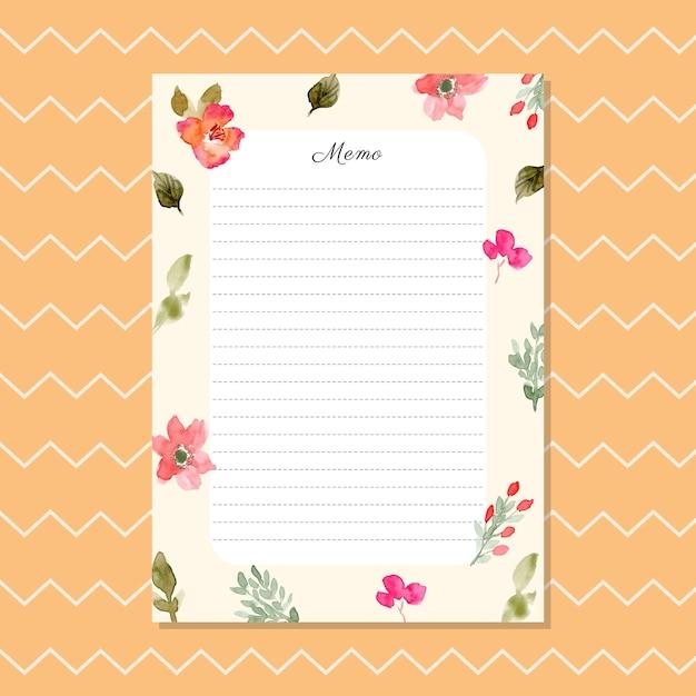 Mémo blanc avec fond floral aquarelle Vecteur Premium