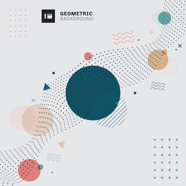 Memphis Abstrait Fond Gris Géométrique. Vecteur Premium