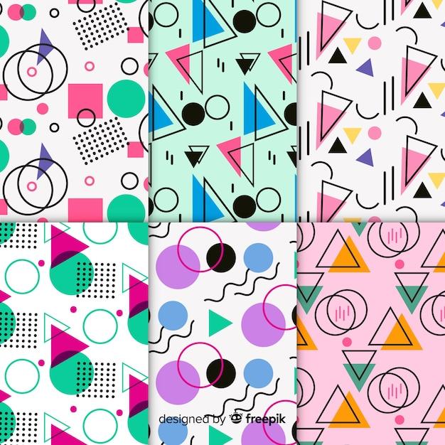 Memphis coloré motif set Vecteur gratuit