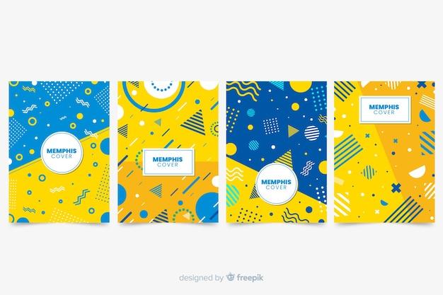 Memphis cover collection with yellow Vecteur gratuit