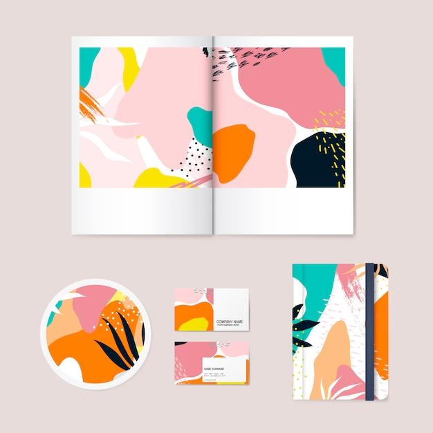 Memphis design pattern company vecteur de marque Vecteur gratuit