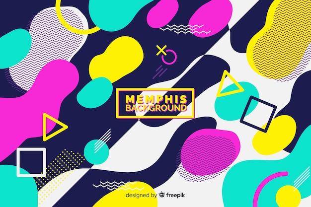 Memphis fond avec des formes colorées Vecteur gratuit