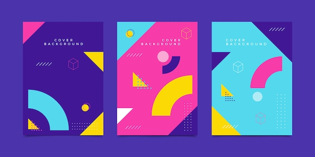 Memphis geometric cover background Vecteur Premium