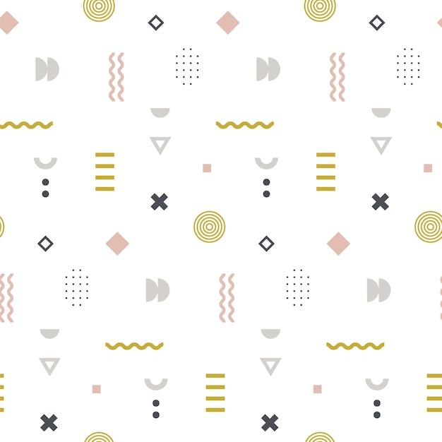 Memphis seamless pattern en couleur pastel. Vecteur Premium