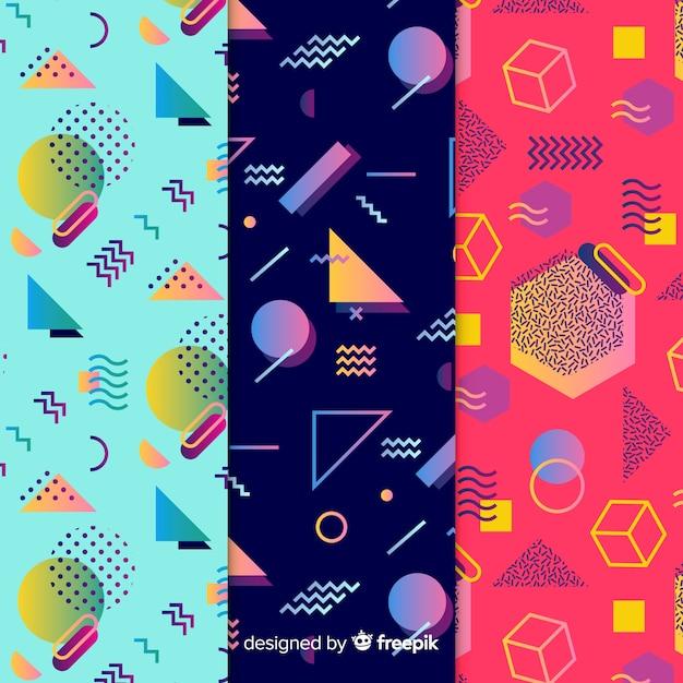 Memphis seamless pattern set Vecteur gratuit
