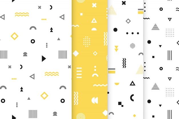Memphis Seamless Patterns Set. Vecteur Premium