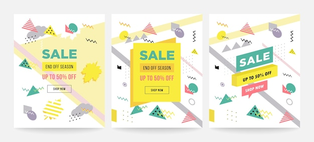 Memphis style cartes à collectionner design collection de modèles Vecteur Premium