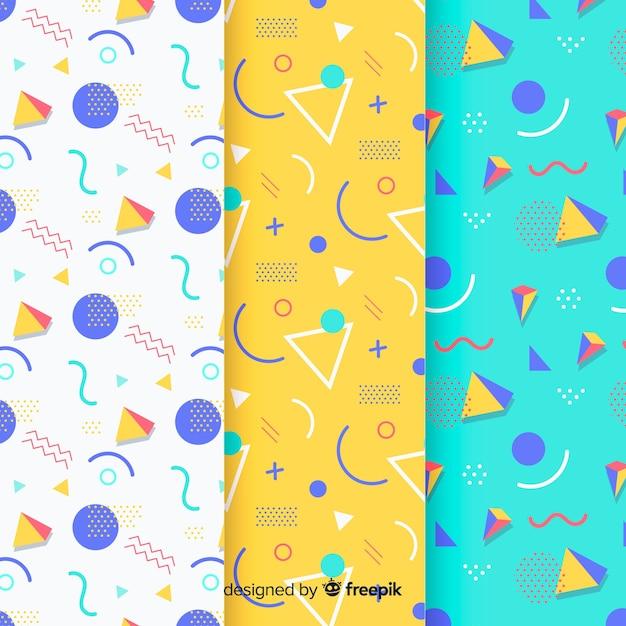 Memphis Triangle Pattern Collection Vecteur gratuit