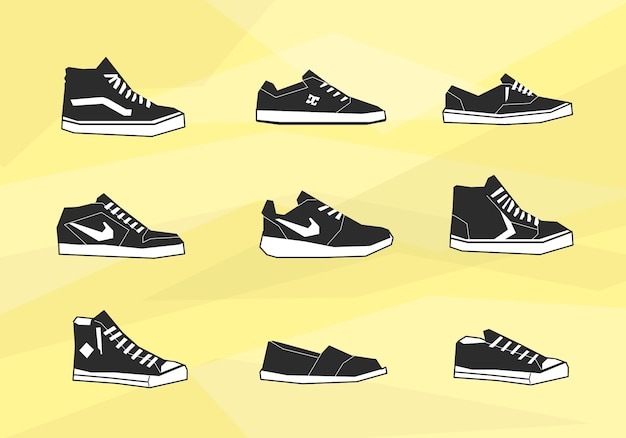 Men chaussures icônes Vecteur gratuit
