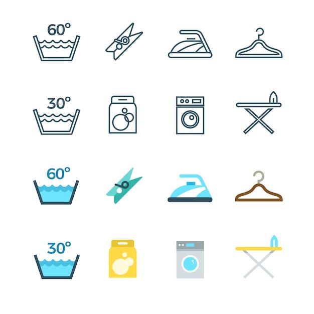 Ménage et linge, ligne de lavage et icônes plats Vecteur Premium