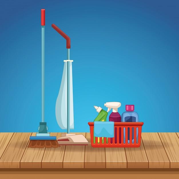 Ménage nettoyage dessin animé Vecteur Premium