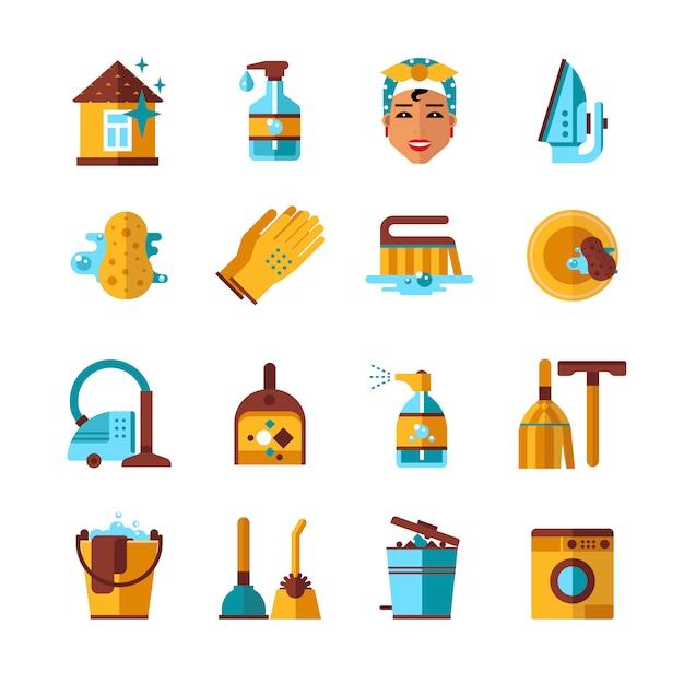 Ménage nettoyage plat icons set Vecteur gratuit