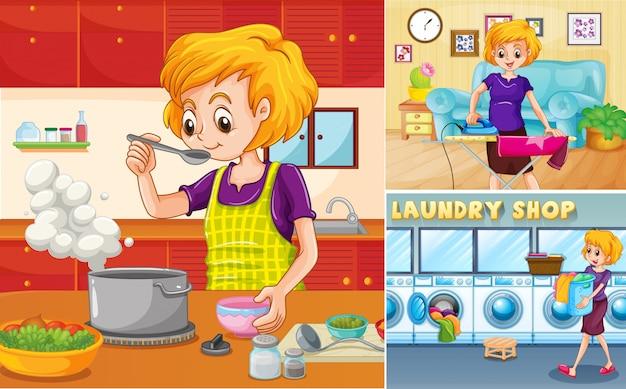 Ménagère Faisant Différentes Tâches à La Maison Vecteur gratuit
