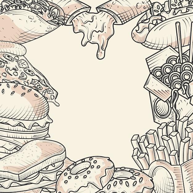 Menu Alimentaire Collations Pain Burger Sandwich Beignets Illustration De L'affiche Dessinée à La Main Vecteur Premium