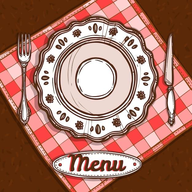 Menu avec assiette en porcelaine Vecteur gratuit