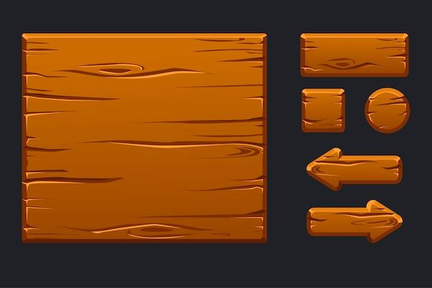 Menu En Bois Vert Modèle D'interface Utilisateur Graphique Et Boutons Vecteur Premium