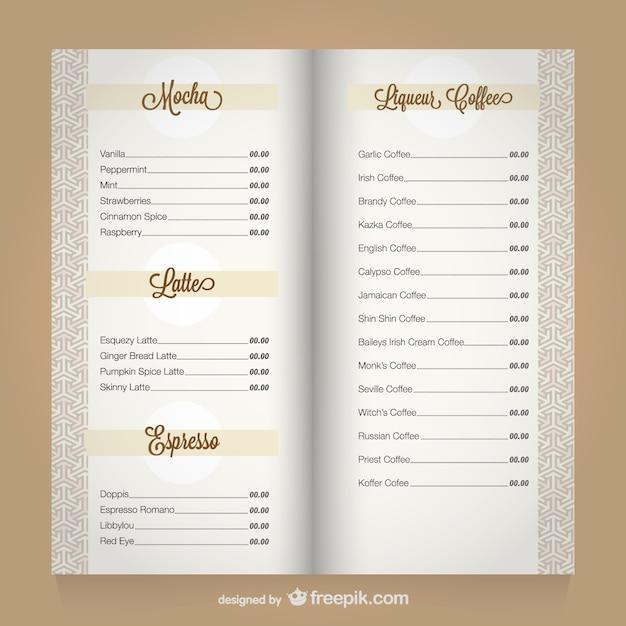 Menu Café Modèle De Vecteur Vecteur Premium