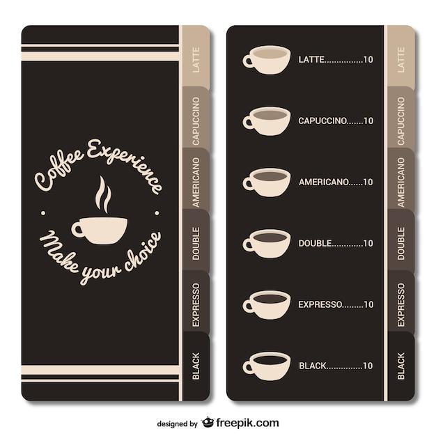 Menu Café Vecteur gratuit