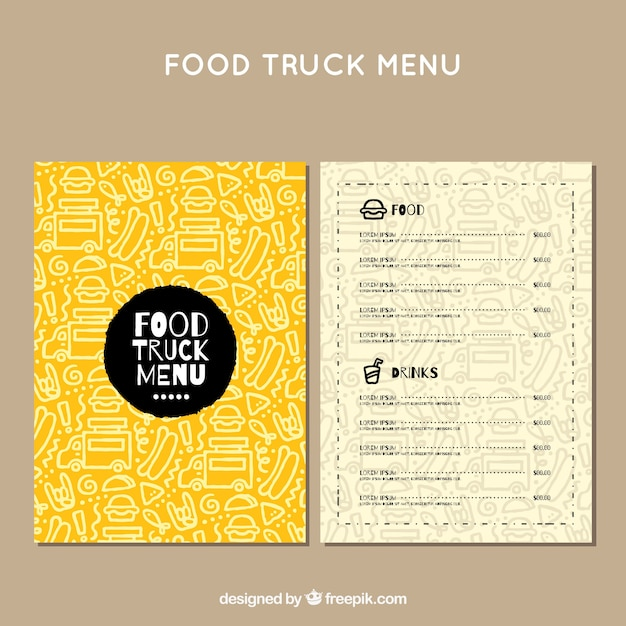 Menu de camion alimentaire avec motif dessiné à la main Vecteur gratuit