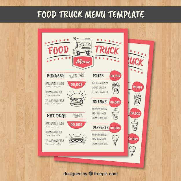 Menu De Camion De Nourriture Amusant Avec Un Style Moderne Vecteur gratuit