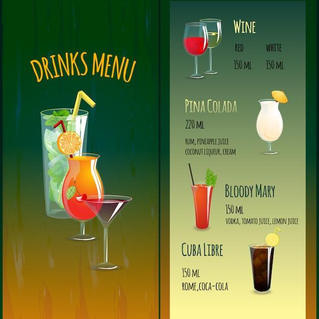 Menu cocktail bar Vecteur gratuit