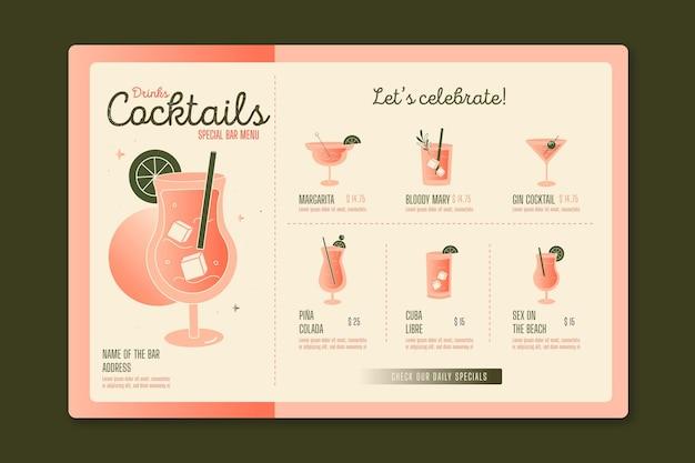Menu Cocktail Vecteur gratuit