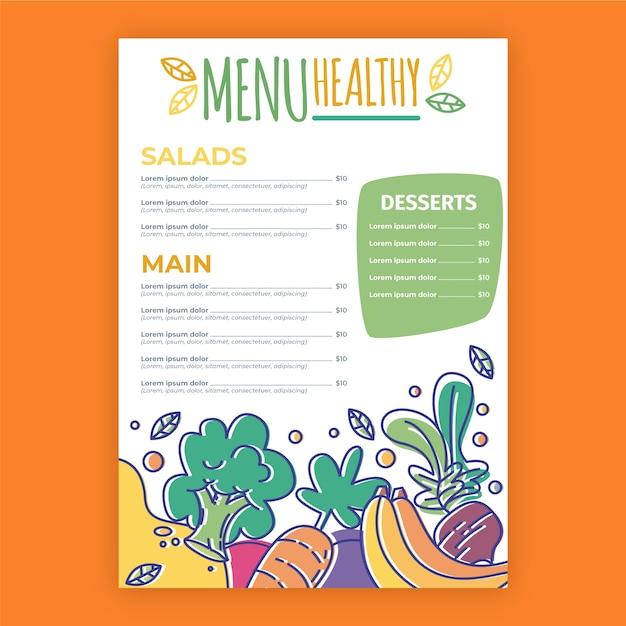 Menu Coloré De Restaurant De Nourriture Saine Vecteur gratuit