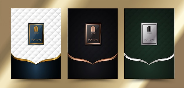 Menu de couverture géométrique de luxe Vecteur Premium