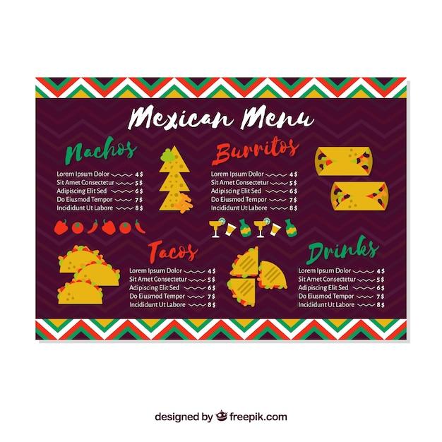 Menu Créatif Du Restaurant Mexicain Vecteur gratuit