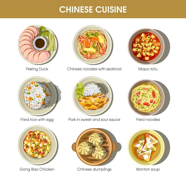 Menu de cuisine chinoise Vecteur Premium