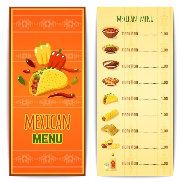 Menu De La Cuisine Mexicaine Vecteur gratuit