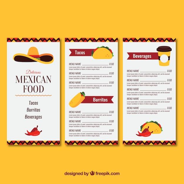 Menu de la cuisine mexicaine avec trois pages Vecteur gratuit