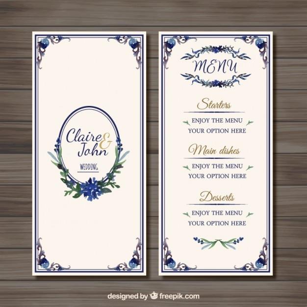 menu de mariage d 39 ornement t l charger des vecteurs gratuitement. Black Bedroom Furniture Sets. Home Design Ideas