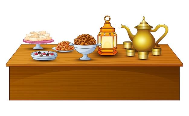 Un menu délicieux pour la fête de l'iftar sont sur la table avec une lanterne et une théière en or Vecteur Premium