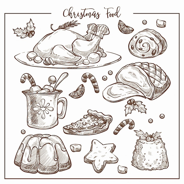 Menu De Dîner De Noël Traditionnel Croquis Illustration Jeu De Plats. Vecteur Premium
