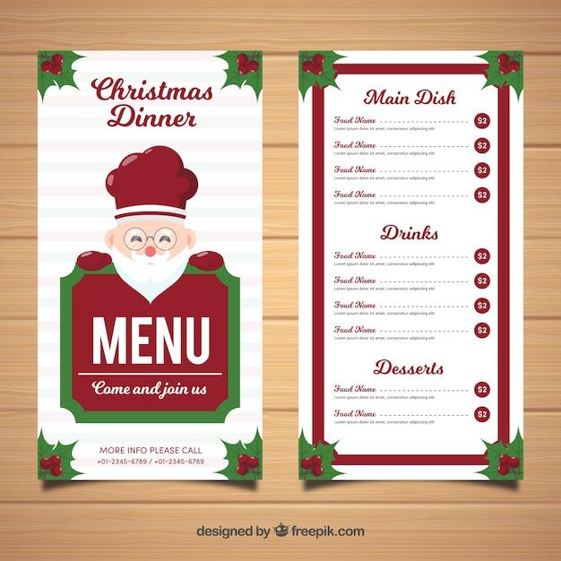 Menu Du Père Noël Pour Joyeux Noël Télécharger Des