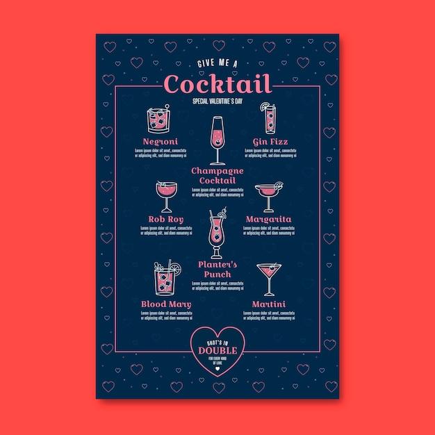 Menu Du Restaurant De Cocktails De La Saint-valentin Vecteur gratuit