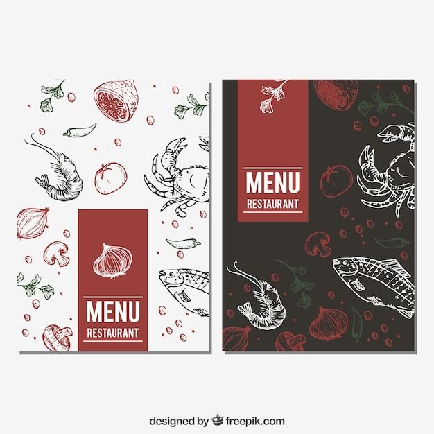 Menu Du Restaurant Avec Croquis De Nourriture Vecteur gratuit
