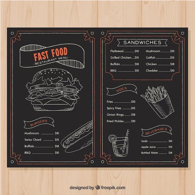 Menu Du Restaurant Dans Le Style Tableau Noir Vecteur gratuit