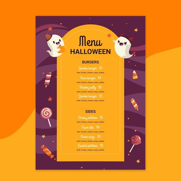 Menu Du Restaurant Halloween Vecteur gratuit