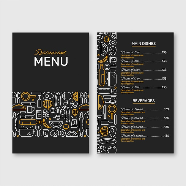 Menu du restaurant noir et jaune Vecteur Premium