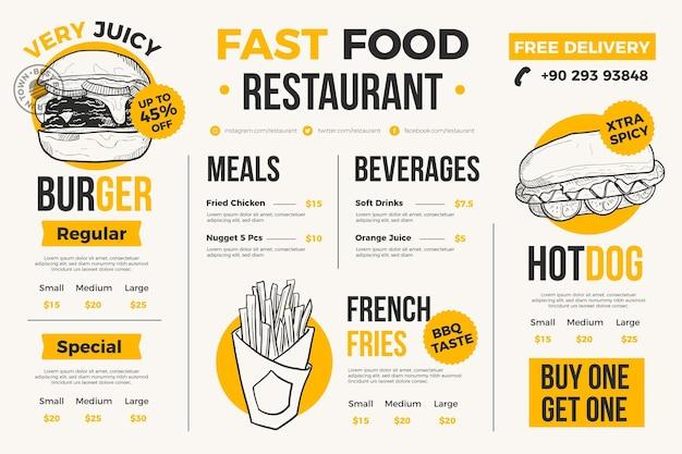 Menu Du Restaurant Pour Plateforme Numérique Vecteur Premium