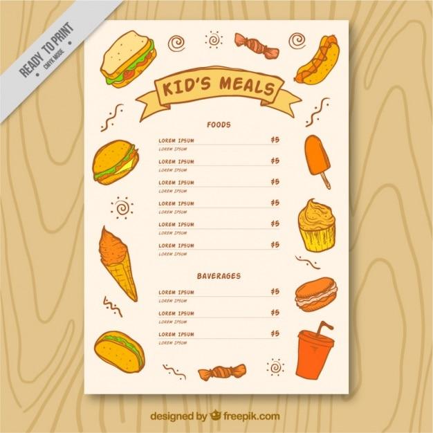 Menu Enfant Brochure Avec Des Croquis De La Nourriture Délicieuse Vecteur gratuit